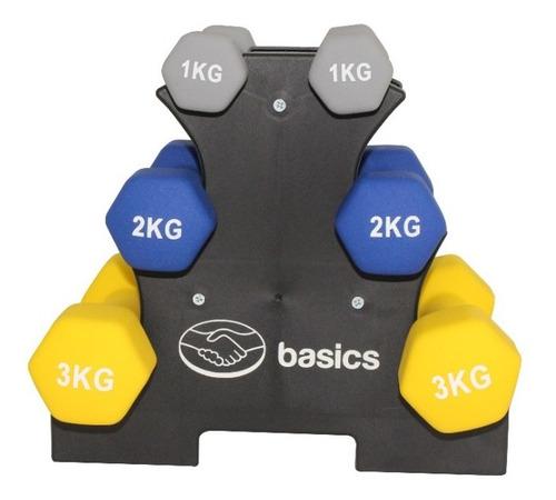 Imagen 1 de 8 de Set De 6 Mancuernas Mercado Libre Basics Pesas 1kg 2kg 3kg