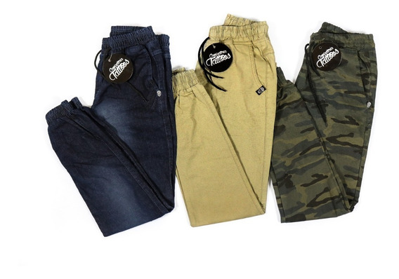 Kit 3 Calça Jeans Masculina Jogger Camuflada Sarja Elástico