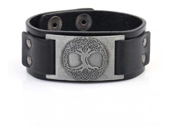 Bracelete Pulseira Couro Árvore Tranças Celtas Vikings