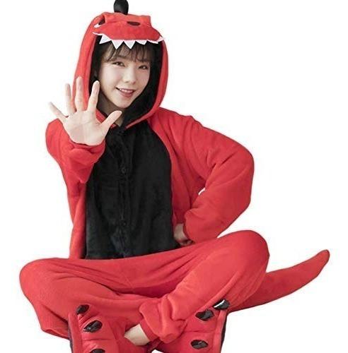 Pijama Kigurumi Dinosaurio Rojo Cosplay Disfraz Envío Gratis