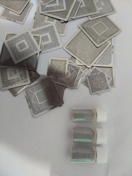 70 Pçs Bga Stencil Universal E Ati+ 3 Potes Esfera Reballing