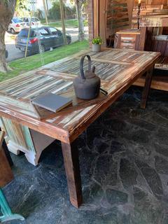 Mesa Comedor Madera Reciclada 2mt Pinotea Vintage Decapada