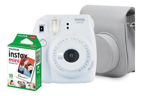 Kit Câmera Instax Mini 9 Branco Gelo + Bolsa + 10 Fotos