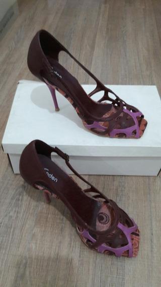 Sandalia Salto Fino Rosa/roxo - Tamanho 37
