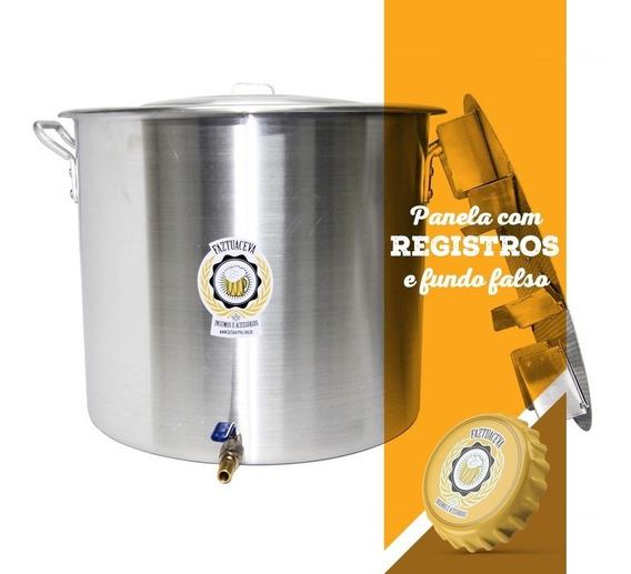 Panela Cervejeira Com Registro E Fundo Falso 68l - 45cm