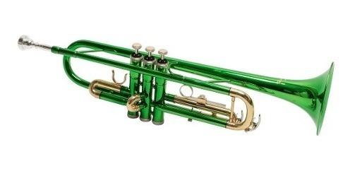 Trompeta Parquer Custom Si Bemol Metal Color Verde Estuche
