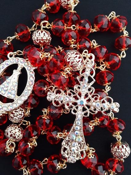 Terço De Noiva Dourado Banhado, Com Cristal Vermelho, 80cm