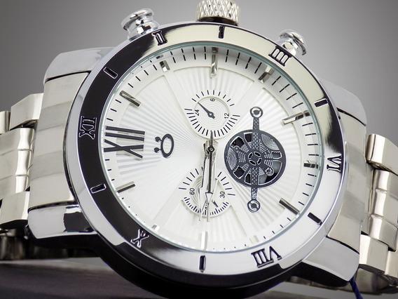 Relógio Masculino Prata Grif. Bonito Original Barato + Caixa