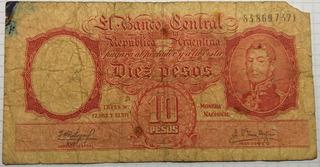 Billete 10 Pesos Moneda Nacional Serie F 1961