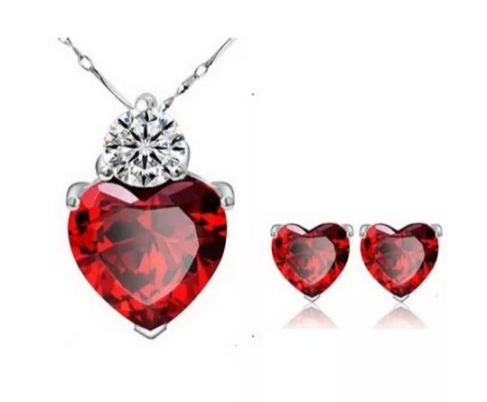 Dije Collar Y Aretes Amor Cristal Swarov Elements Regalos!