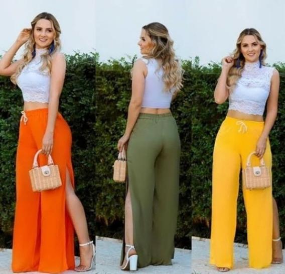 Calça Feminina Pantalona Com Fendas Laterais De Viscolinho