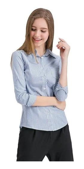 Camisas Elastizadas Rayas Entalladas Damas Punta 2019