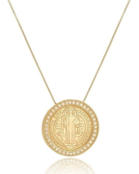 Colar Com Medalha De São Bento Com Zirconia Folheado A Ouro