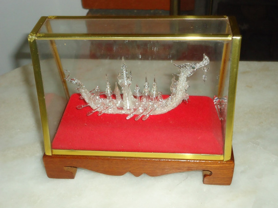 Escultura De Cristal Swarovski Barco Dragão Viking Antiga