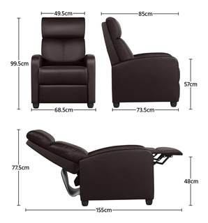 Sillon Silla Cafe Sala Reclinable Vinil Asientos De Cine