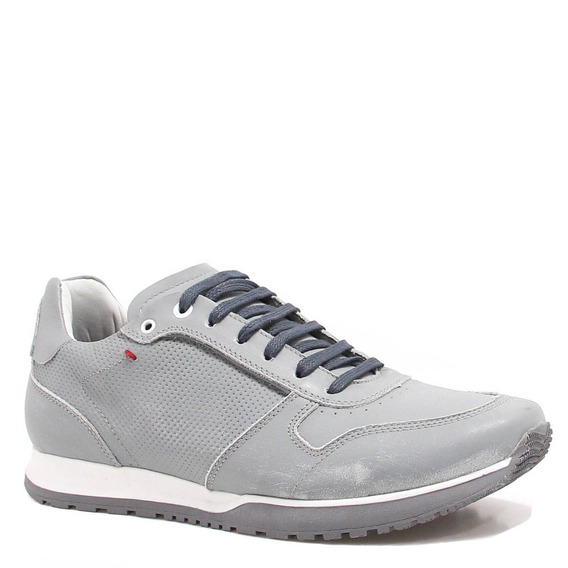 Sapatênis Zariff Shoes Casual Couro Cinza Br503