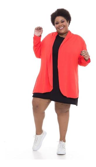 Casaco Plus Size Wonder Size Leve Longo Vermelho
