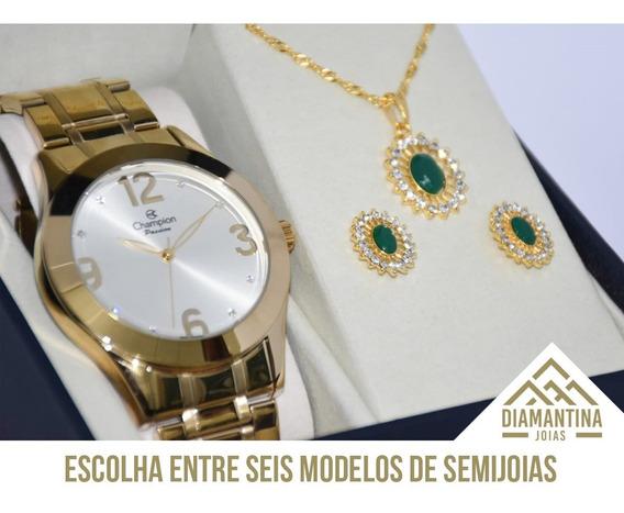Relógio Feminino Champion Ch24268h Com Brinde Kit Semijoias