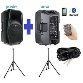 Kit Caixa Ativa + Passiva Ps12 Bluetooth Suporte Cabo 10mts