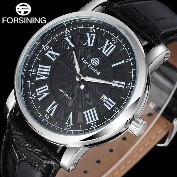 Relógio Forsining Automático Luxo Mostrador Preto