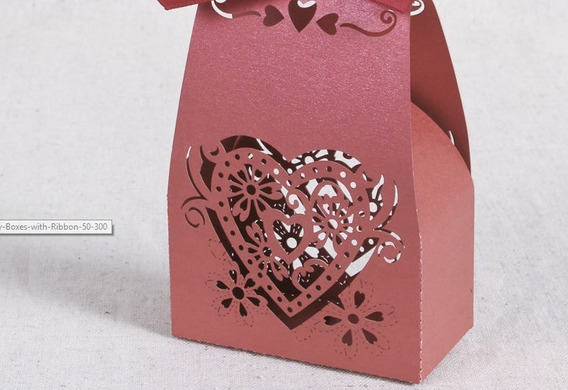 Caja Souvenir Casamiento Corazon Calado X 10 Unidades