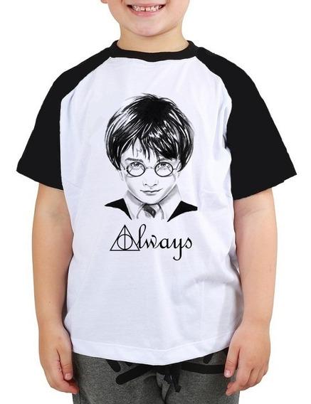 Camiseta Harry Potter Always Filme Raglan Infantil