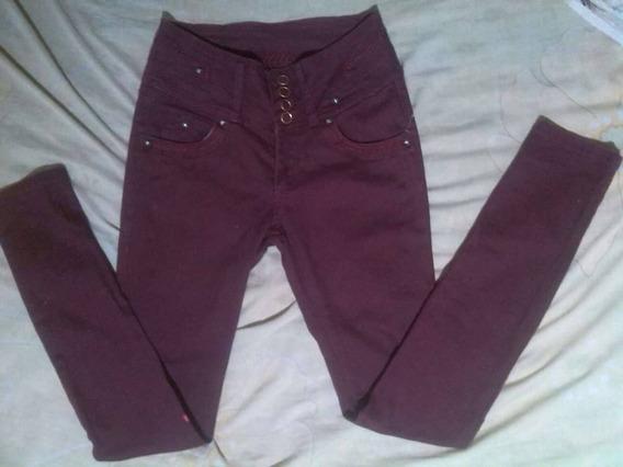 Vendo Pantalon Jeans De Dama Vinotinto Tela Gruesa Alto 7/8