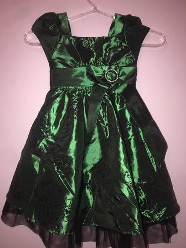 Vestido Meninas Chic Verde Tamanho 3 Anos