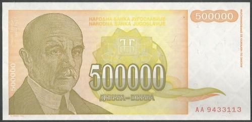 Imagen 1 de 2 de Yugoeslavia 500.000 Dinara  1994 P143a