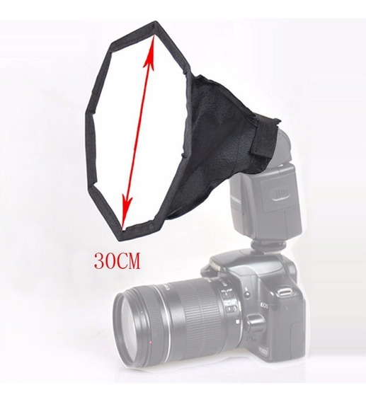 Mini Difusor Softbox Octagonal Flash 30cm Dobrável + Bolsa