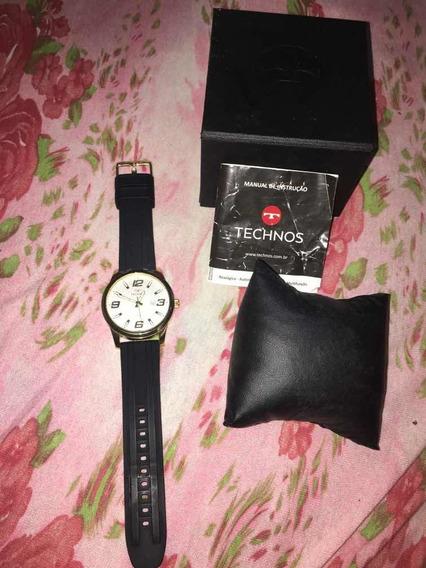 Relógio Technos Dourado Semi Novo Na Caixa