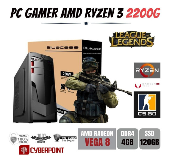 Computador Gamer Amd Ryzen 3 2200g 3.5ghz 4gb Ddr4 Ssd 120gb