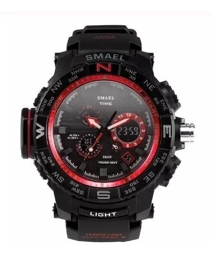 Relógio Smael Militar Vermelho / Prova D
