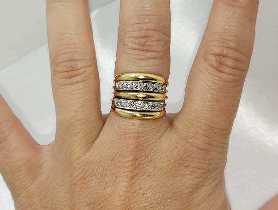Anel 5 Aros Ouro Amarelo E Branco 18k Brilhantes Diamantados