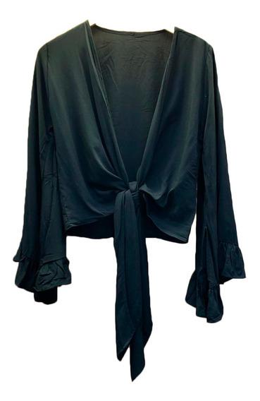 Blusa Cropped Ciganinha Feminina Poa Elegante Inverno Casual