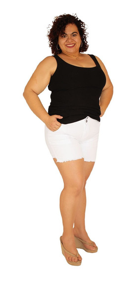 Shorts Sarja Com Elastano Plus Size Do 46 Ao 60 Branco