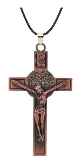 Colar Unissex Pingente Inox Dupla Face Jesus Cruz Crucifixo