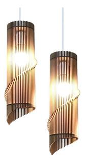 Lámpara Colgante Madera Mdf 40cm Dúo Envío Gratis A Caba