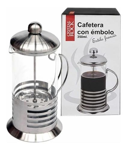 Imagen 1 de 6 de Cafetera Prensa Francesa Con Émbolo 350ml Vidrio Y Acero