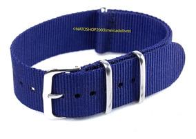Pulseira Relógio Nato Nylon 24mm Azul Marinho 3 Anéis