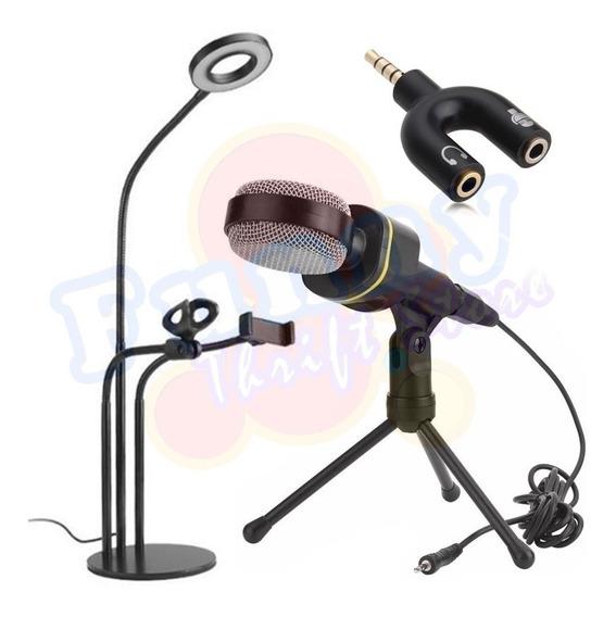 Kit Youtuber Suporte 3-em-1 Gravação Microfone Multimídia