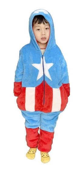 Macacão Pijama Capitão America Inf. 3 A 4 Anos Zc 10071140