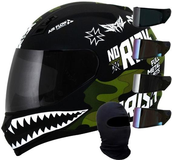 Capacete Norisk Ff391 Ride Hard Preto Verde + Viseira +touca