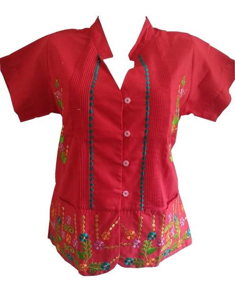 Blusa Guayabera Dama Arroz Rojo Bordada 100% Yucateca