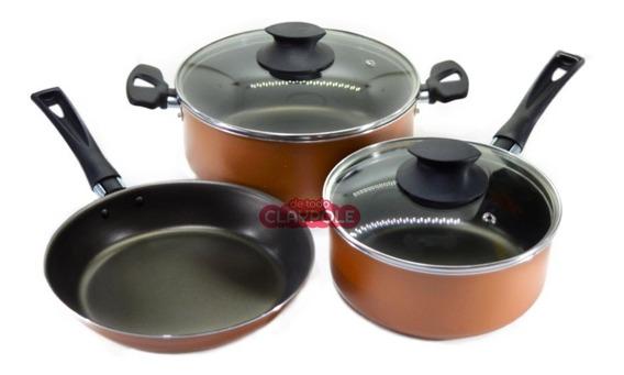 Batería De Cocina Antiadherente Jovifel Amalfitana 3 Pzs