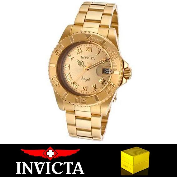 Relógio Feminino Invicta 14321 Angel Suíço Banhado Ouro 18k Original Nota Fiscal Garantia Dourado Oferta Joclock Store