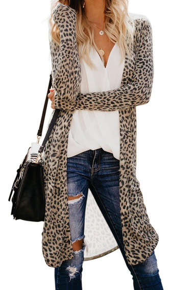 Sueter Cardigan Animal Print Leopardo Largo Moderno Casual