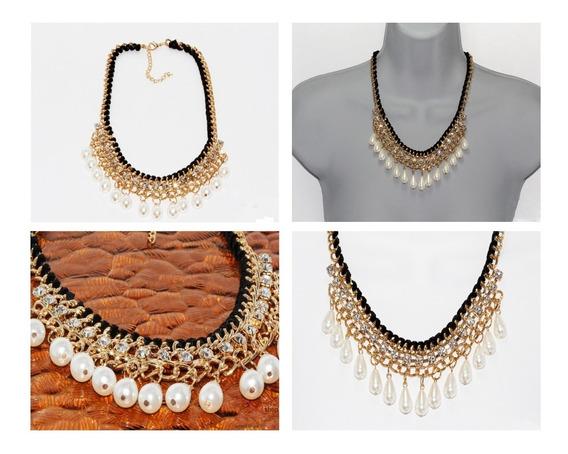 Collar Corto Dorado Perlas Cristales Mujer Elegante Cc37