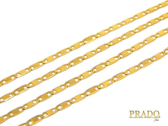 Corrente Colar Cordão Piastrine Em Ouro 18k 60cm