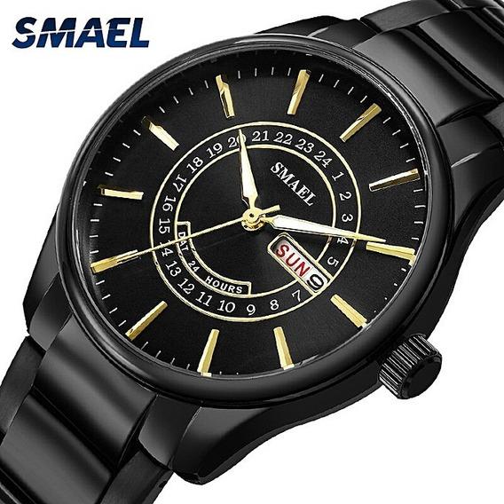 Relógio Masculino Quartz Preto C/ Dourado A Prova D